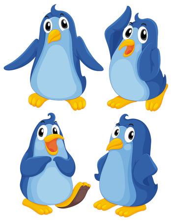 Illustratie van de vier blauwe pinguïns op een witte achtergrond