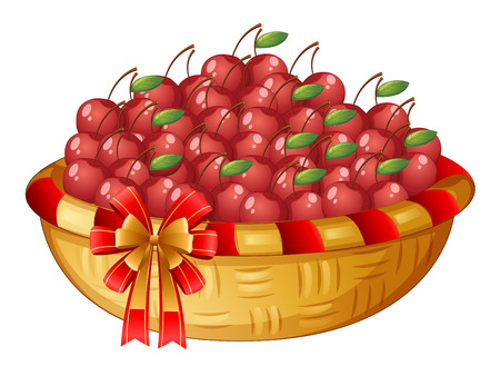 Illustration of a basket of cherries on a white background Vector