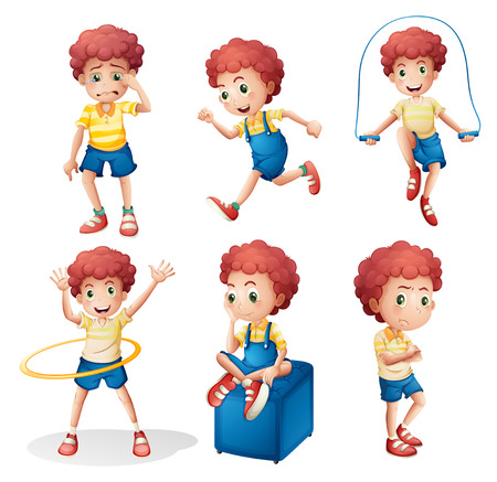 Illustratie van de verschillende activiteiten van een jonge man op een witte achtergrond Stock Illustratie