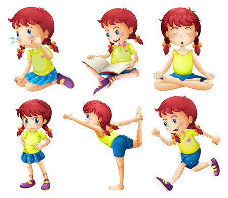 stretching exercise: Illustration of a young lady doing different activities on a white background
