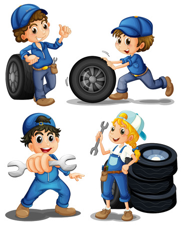 Illustration of the energetic mechanics on a white background Vector