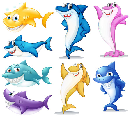 Illustration of a group of colorful sharks on a white background Vector