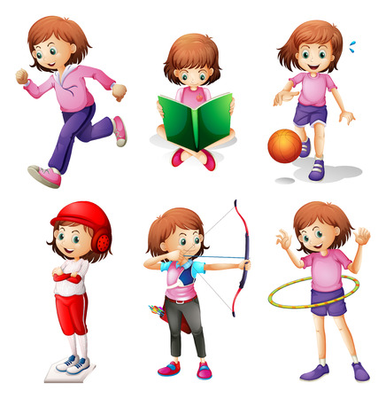 Illustration of a young girl doing different activities on a white background Vector