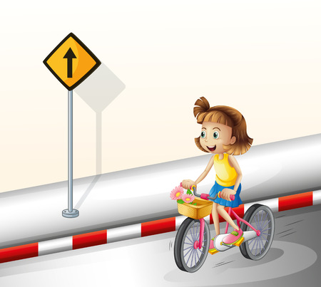 road bike: Illustration of a girl biking at the road on a white background Illustration