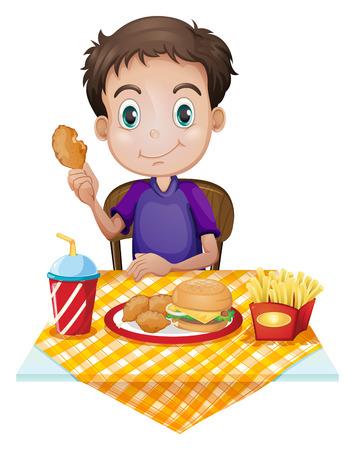 Illustration eines kleinen Jungen Essen in einem Fast-Food-Restaurant auf einem weißen Hintergrund