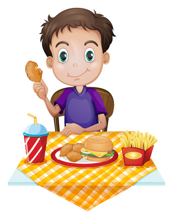 burger cartoon: Illustration of a young boy eating in a fastfood restaurant on a white background