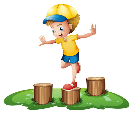 stumps: Illustration of a smiling boy playing with the stumps on a white background Illustration