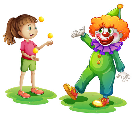 children circle: Illustration of a clown and a young girl on a white background