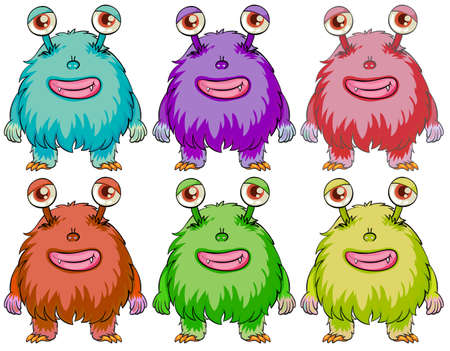 Illustration of the six colourful monsters on a white background Vector