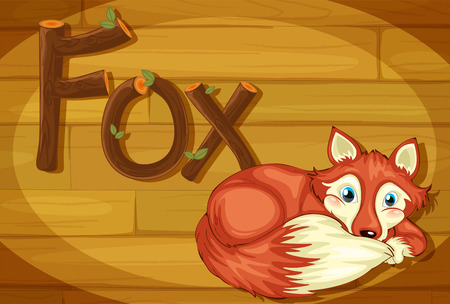 Illustration of a wooden frame with a fox Vector