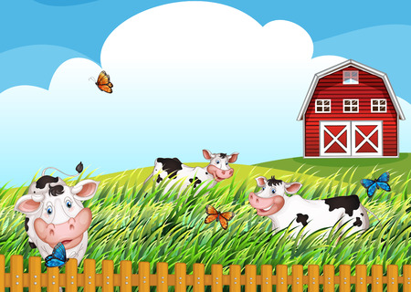 barnhouse: Illustration of the cows at the farm