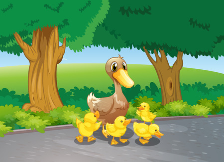 Illustration of a mother duck and her ducklings at the road Vector