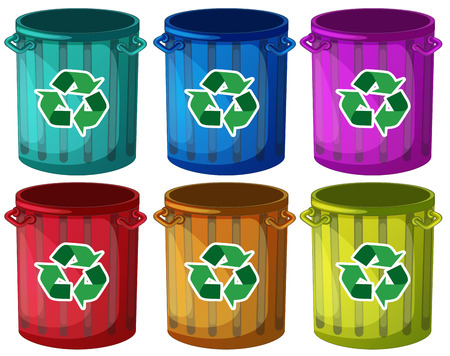 Illustratie van de trashbins met recycle tekens op een witte achtergrond