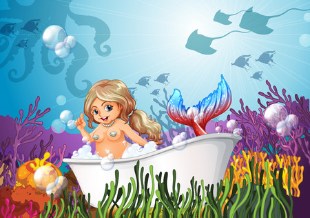 woman underwater: Illustration of a bathtub under the sea with a mermaid