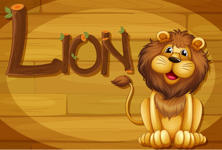 log wall: Illustration of a wooden frame with a lion Illustration
