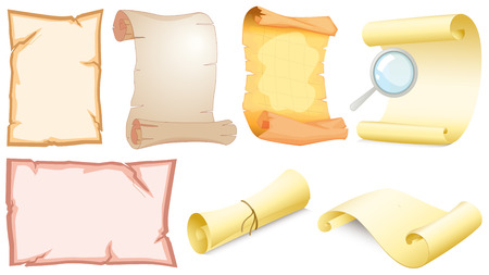scrolled: Illustration of the set of empty scrolls on a white background