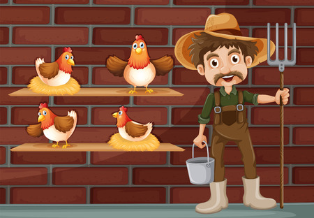 Illustration of a farmer beside the four hens Vector