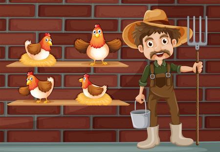 cartoon wood bucket: Illustration of a farmer beside the four hens