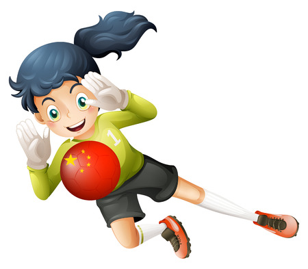 Illustration of a female soccer player using the ball with the flag of China on a white background Illustration