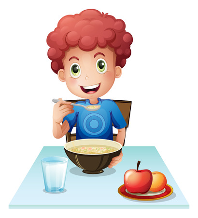 Illustration of a curly boy eating his breakfast on a white background