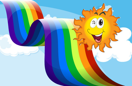 Illustration of a sky with a rainbow and a happy sun Stock Vector - 28204504