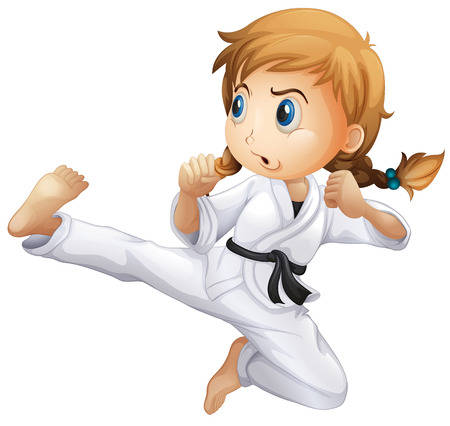 Illustration of a female doing karate on a white background Vector