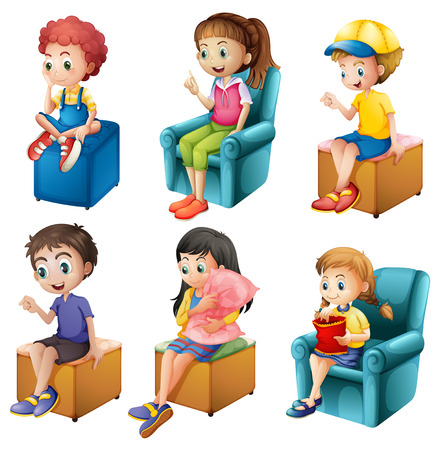 little girl sitting: Illustration of the kids sitting on a white background Illustration