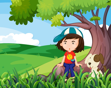 Illustration of a young girl and her pet under the tree Vector
