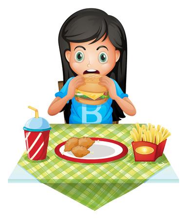 poco: Ilustración de una niña con hambre de comer en un restaurante de comida rápida en un fondo blanco Vectores