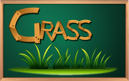 Illustration of a blackboard with grass Vector