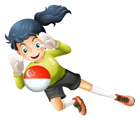 Illustration of a young lady using the ball with the flag of Turkey on a white background Vector