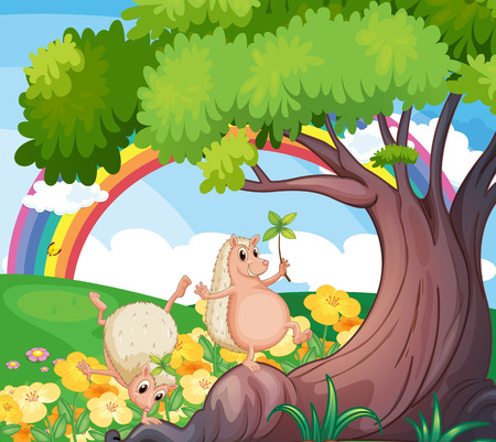 Illustration of the two wild animals near the tree with flowers Vector