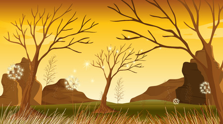 noontime: Illustration of the trees without leaves at the forest