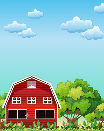 Illustration of a red barnhouse near the trees Vector