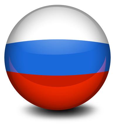 Illustratie van een bal met de Russische vlag op een witte achtergrond