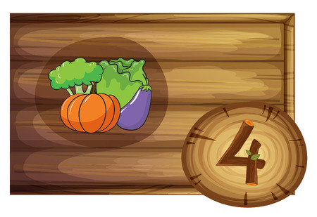 Illustration of a wooden frame with four vegetables on a white background Vector