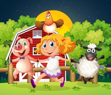 Illustration of a girl playing with the farm animals Vector