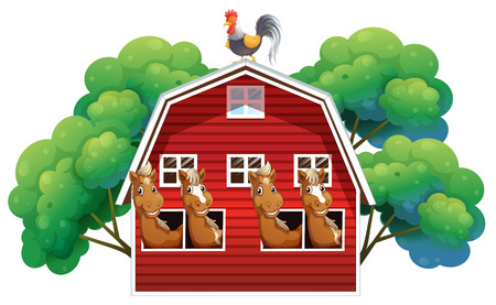 red barn: Illustration of a farmhouse with four horses and a rooster on a white background