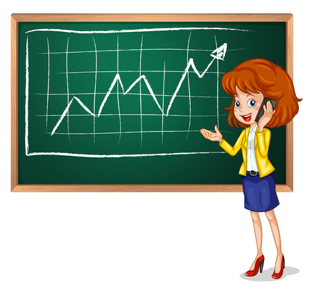 blackboard cartoon: Illustration of a girl using her phone in front of the board on a white background