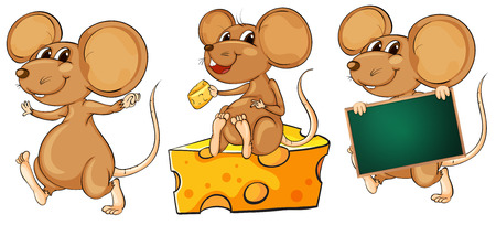Illustration of the three playful mice on a white background Vector