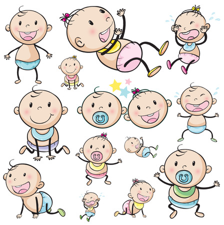 Illustration of a group of babies on a white background Vector