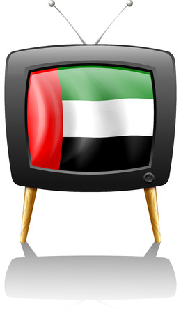 Illustration of a television with the UAE flag on a white background Vector