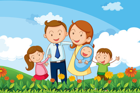 Illustration of a family at the hills Vector