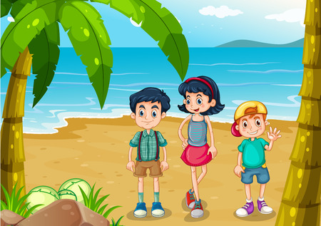 beach boy: Illustration of the children strolling at the beach