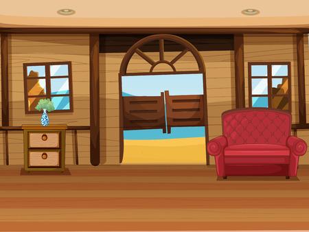 wall angle corner: Illustration of a saloon bar