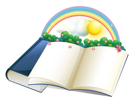 storybook: Illustration of a storybook with a rainbow and plants on a white background