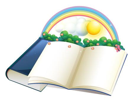libro de cuentos: Ilustraci�n de un libro de cuentos con un arco iris y las plantas sobre un fondo blanco Vectores