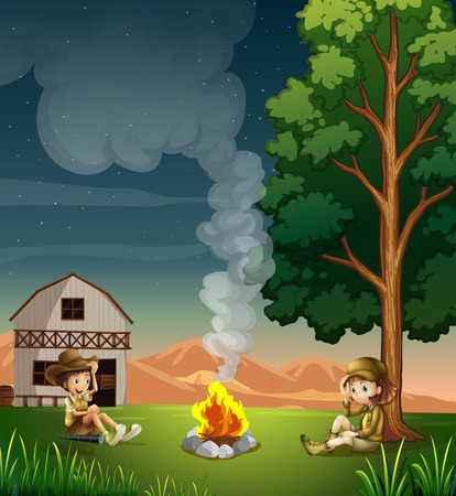 Illustration of the two explorers making a campfire Vector