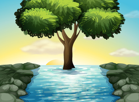 ocean cartoon: Illustration of a big tree in the middle of the river