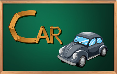 Illustration of a blackboard with a car Vector